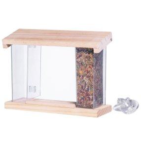 Fågelbord, med genomskinliga behållare. Fäst fågelbordet med sugproppar på fönsterrutan så kan ni i lugn och ro sitta och titta på fåglarna när de kommer för att äta. Sugproppar medföljer. Mått 9x24 cm, höjd 20 cm./n/n *** Local Caption *** Fågelbord/n/n/n
